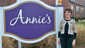 Me by the Annie's Sign