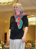 Andee modeling her scarf design