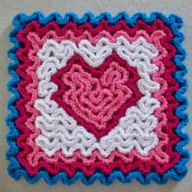 Wiggly Crochet Heart swatch
