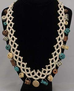 Faux Tatting Crochet Necklace with beads