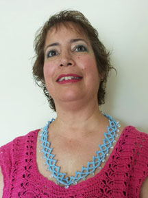 Juanita wearing her faux tatted necklace