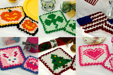 Six Wiggly Hot Pads & Coasters