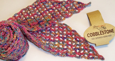 First Skinny Scarf with FibraNatura Cobblestone yarn