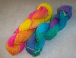 First 2 skeins of dyed yarn in hanks