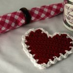 free easy crochet heart coaster red with white border