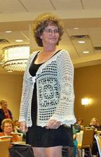 Kathy modeling her jacket design
