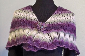 Knit Shawl & Button Flower Pin