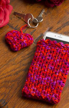 Easy Cell Phone Cosy & Heart-Shaped Key Fob from Red Heart UK website