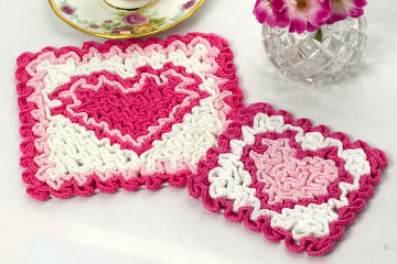 Wiggly Valentine Hot Pad & Coaster Set