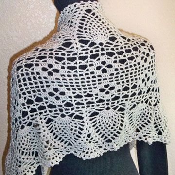 Mom's Keepsake Lace Shawl back
