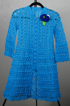 15 Blue Poppy Lace Coat & Poppy Pin by Alla Koval