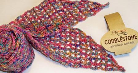 First Skinny Scarf with FibraNatura Cobblestone yarn