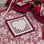 Filet crochet coaster