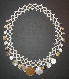 tatted button necklace