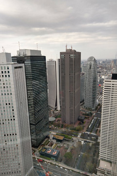 View of tall buildings in Tokyo