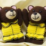 crochet bear mitts