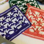 polish stars crochet pot holders